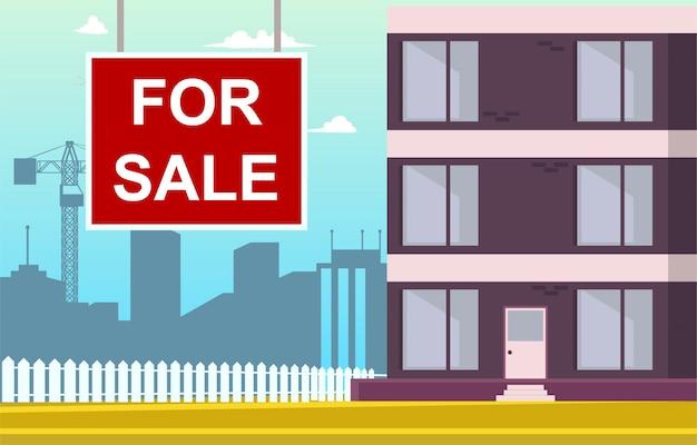 Vector illustratie cartoon appartement te koop Gratis Vector