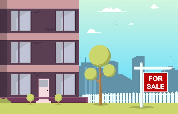 Vector illustratie cartoon appartement te koop Premium Vector