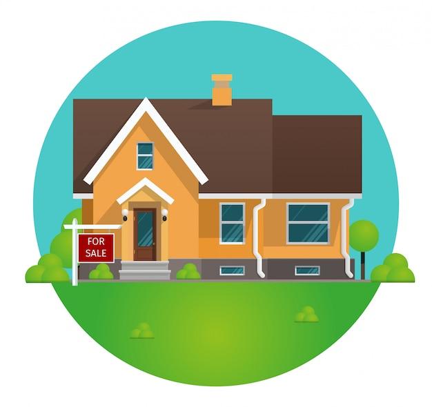 Vector illustratie cartoon concept huur huis Premium Vector