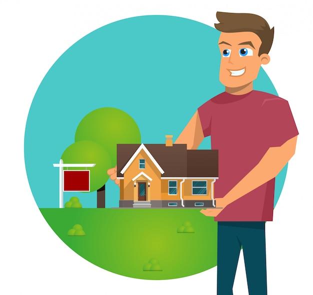 Vector illustratie cartoon concept te koop huis Gratis Vector