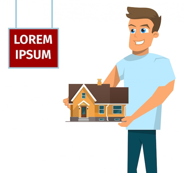 Vector illustratie cartoon concept te koop huis Gratis Vector