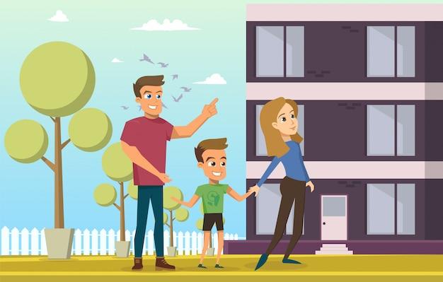 Vector illustratie cartoon jonge en gelukkige familie Gratis Vector
