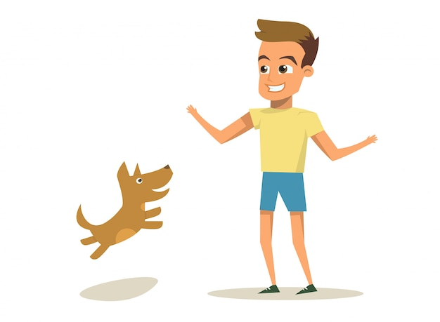 Vector illustratie cartoon kleine hond en jongen Premium Vector