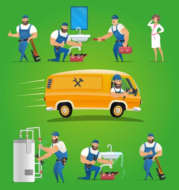 Vector illustratie concept loodgieter service Premium Vector