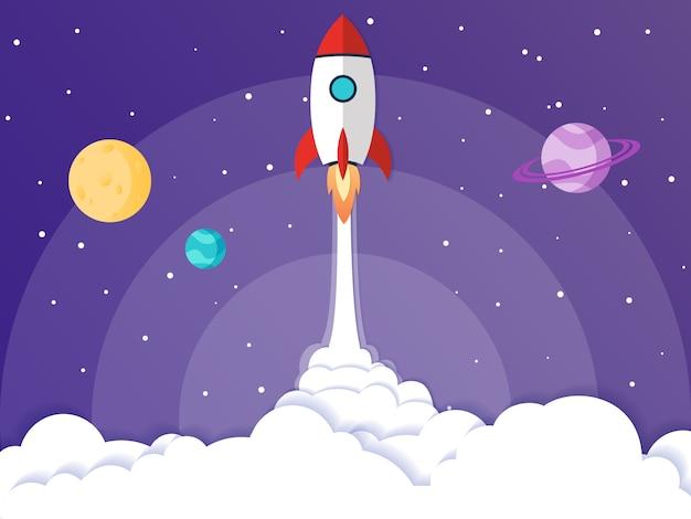 Vector illustratie concept raketlancering Premium Vector