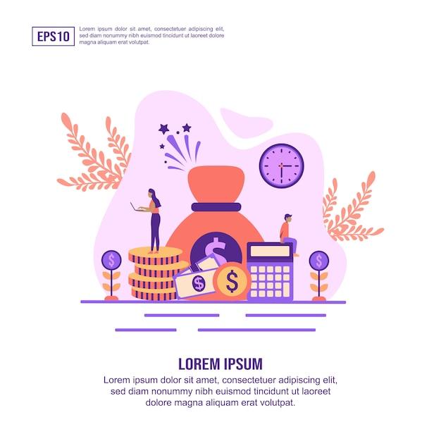 Vector illustratie concept van de economie Premium Vector