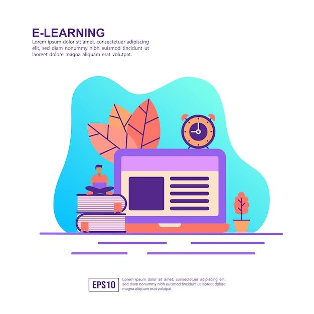 Vector illustratie concept van e-leren Premium Vector