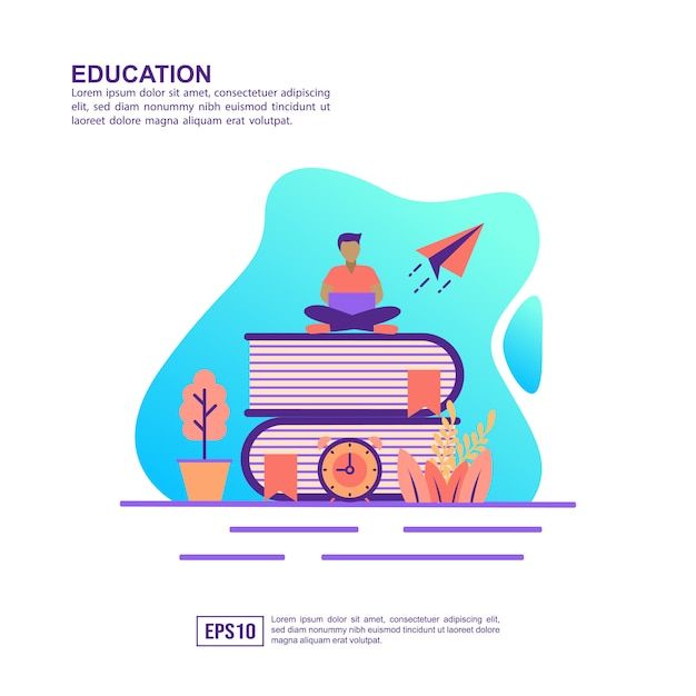 Vector illustratie concept van het onderwijs Premium Vector