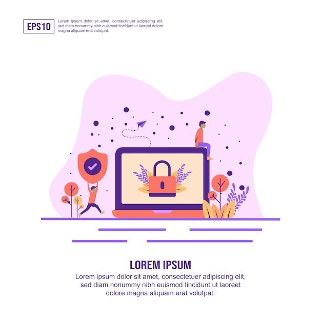 Vector illustratie concept van webbeveiliging Premium Vector