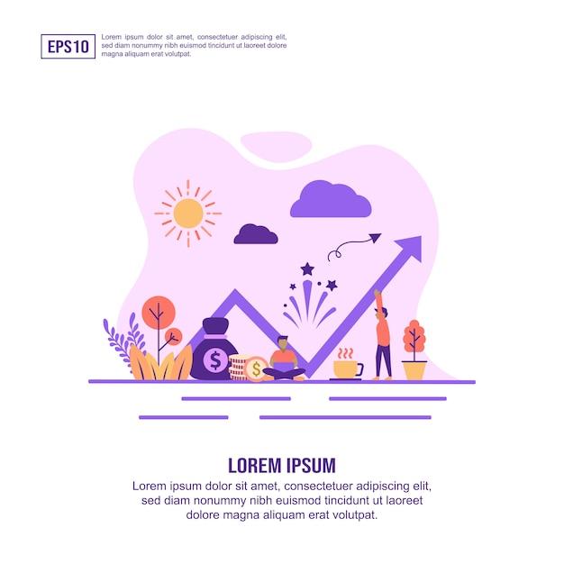 Vector illustratie concept van winst Premium Vector