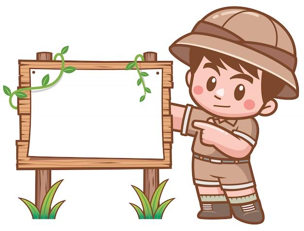 Vector illustratie die van safari boy zich met houten raad bevindt Premium Vector