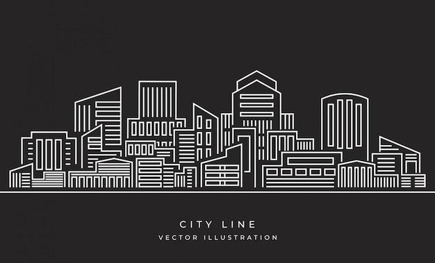 Vector illustratie: dunne lijn stadslandschap Premium Vector