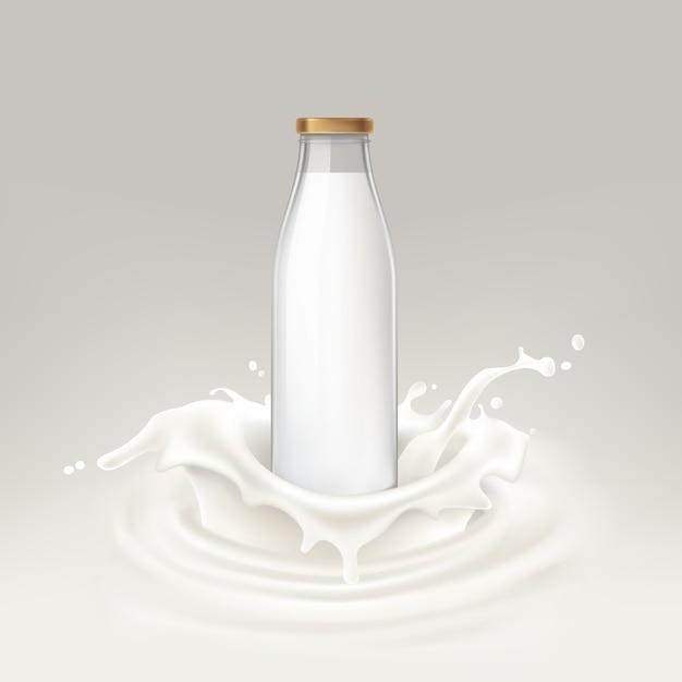 Vector illustratie fles vol melk Gratis Vector