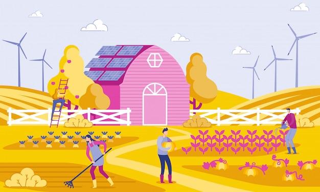 Vector illustratie groene energie in boerderij flat. Premium Vector