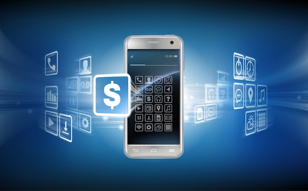 Vector illustratie in een realistische stijl het concept van mobiele betalingen met behulp van de applicatie op uw smartphone. Gratis Vector