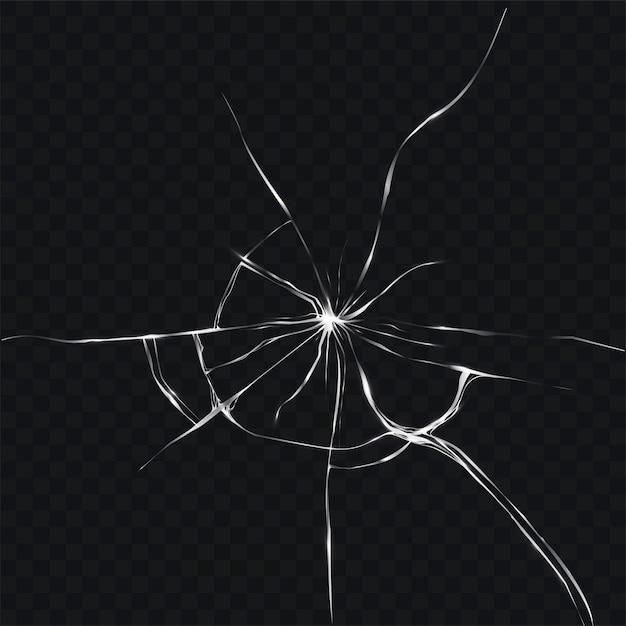 Vector illustratie in realistische stijl van gebroken, gebarsten glas Gratis Vector