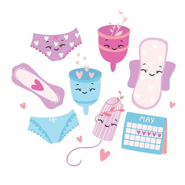 Vector illustratie, ingesteld. menstruatie. periode. vrouwelijke hygiëneproducten. menstruatiecup. slipjes, pads, cups. menstruatiebescherming, vrouwelijke hygiëne. Premium Vector