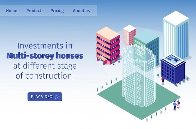 Vector illustratie investeringen in huizen met meerdere verdiepingen in verschillende fase van de bouw Premium Vector