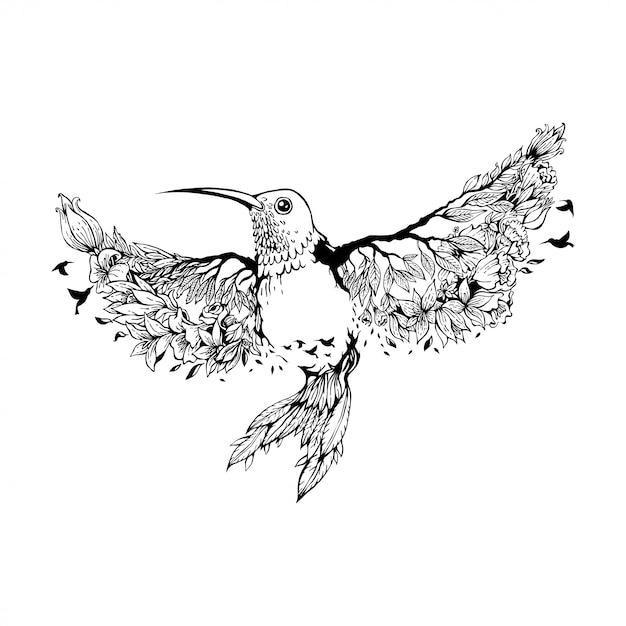 Vector illustratie kolibrie met bloemen Premium Vector
