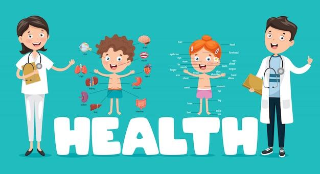 Vector illustratie medisch en gezondheidszorg Premium Vector