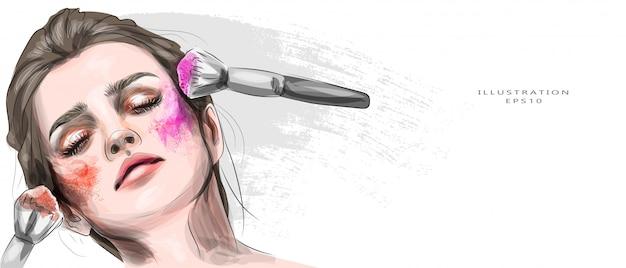 Vector illustratie. meisje met lichte make-up. portret van een mooi jong meisje met make-up in felle kleuren. blond. mode, schoonheid, schoonheidssalon. toepassing met kwast. Premium Vector