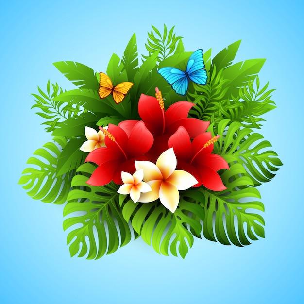 Vector illustratie met tropische planten en bloemen Premium Vector