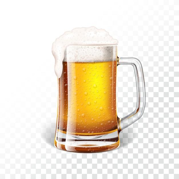 Vector illustratie met vers lager bier in een biermok op transparante achtergrond. Premium Vector