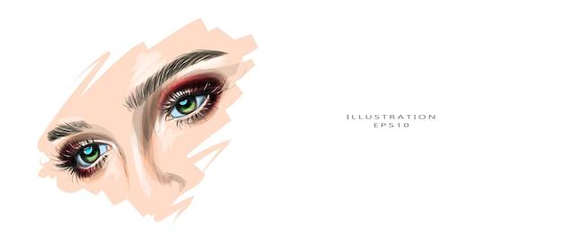 Vector illustratie. mooie vrouwelijke ogen met make-up. Premium Vector