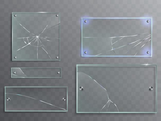 Vector illustratie set transparante glazen platen met scheuren, gebarsten panelen Gratis Vector