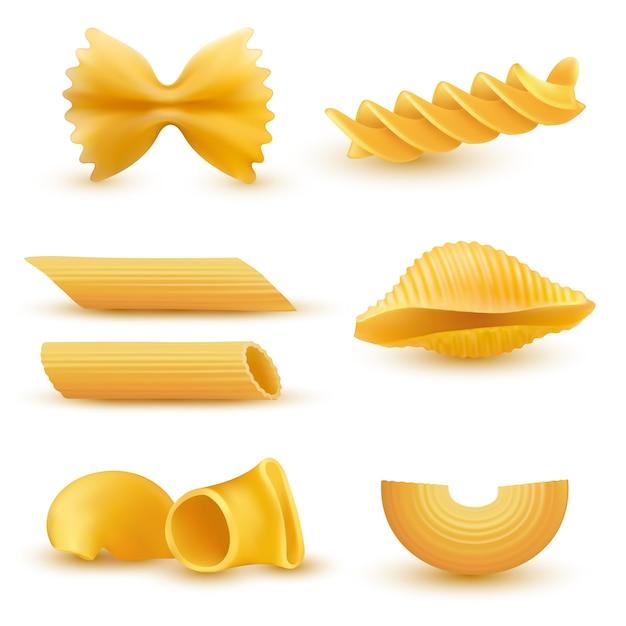 Vector illustratie set van realistische pictogrammen van droge macaroni, pasta van verschillende soorten Gratis Vector