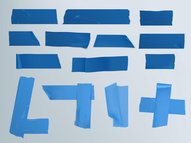 Vector illustratie set van verschillende plakjes plakband met schaduw en rimpels Gratis Vector