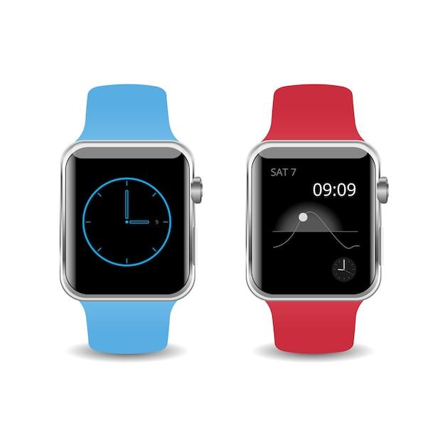 Vector illustratie smart watch geïsoleerd op een witte achtergrond Premium Vector