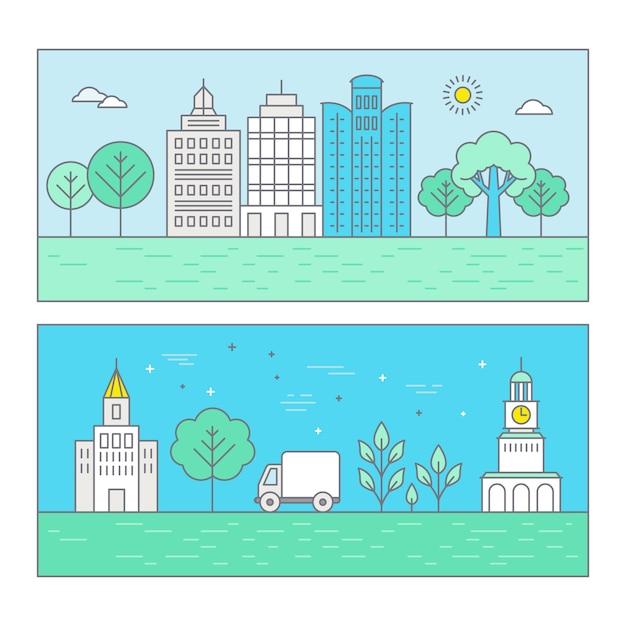 Vector illustratie stadslandschap in trendy vlakke lineaire stijl Premium Vector