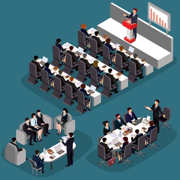 Vector illustratie van 3d platte isometrische zakenmensen. het concept van een bedrijfsleider, directeur, ceo. Gratis Vector