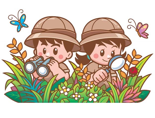 Vector illustratie van adventure safari boy and girl Premium Vector