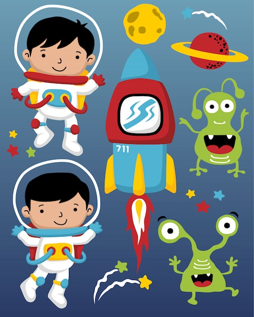 Vector illustratie van astronauten cartoon in de ruimte Premium Vector