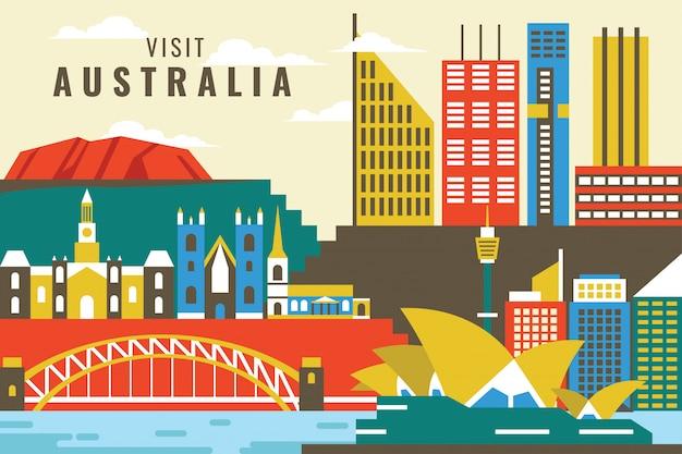 Vector illustratie van bezoek australië Premium Vector