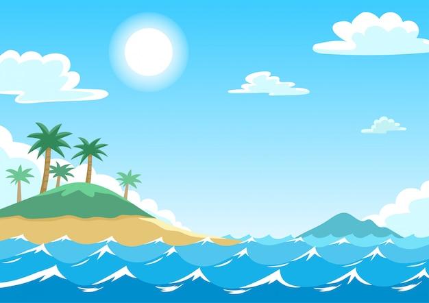 Vector illustratie van blauwe zee met eilanden en kokospalmen Premium Vector
