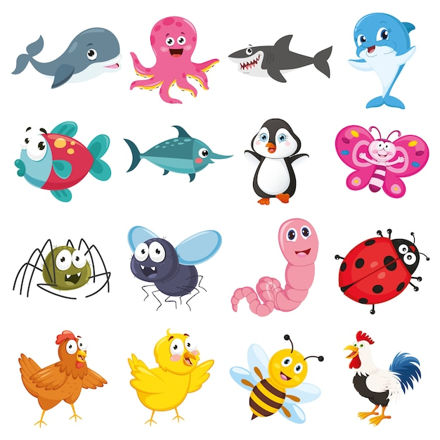 Vector illustratie van cartoon dieren collectie Premium Vector