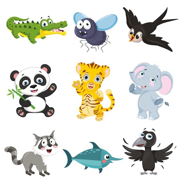 Vector illustratie van cartoon dieren collectie Premium Vector