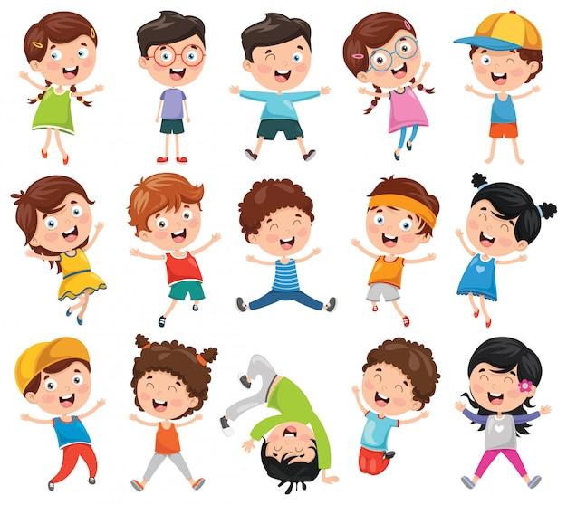 Vector illustratie van cartoon kinderen Premium Vector