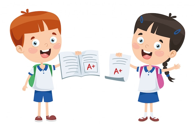 Vector illustratie van cartoon studenten Premium Vector