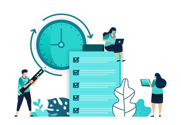 Vector illustratie van checklist voor beoordelingen en feedback over de kwaliteit en tijdigheid van de meningen van klanten. vrouwelijke en mannelijke arbeiders. ontworpen voor website, web, bestemmingspagina, apps, ui ux, poster, flyer Premium Vector