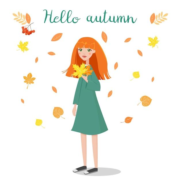 Vector illustratie van de herfstbladeren van de meisjesholding Premium Vector
