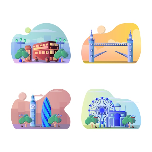 Vector illustratie van de toeristenbestemming van engeland Premium Vector