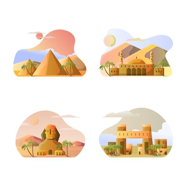 Vector illustratie van de toeristische bestemmingen van het land van egypte Premium Vector