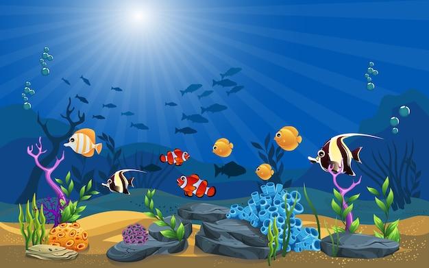 Vector illustratie van de zee. mooie onderwater achtergrond en schijnt Premium Vector