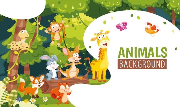 Vector illustratie van dieren achtergrond Premium Vector