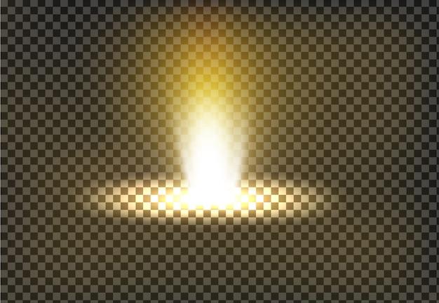 Vector illustratie van een gouden lichtstraal, een lichtstraal Gratis Vector