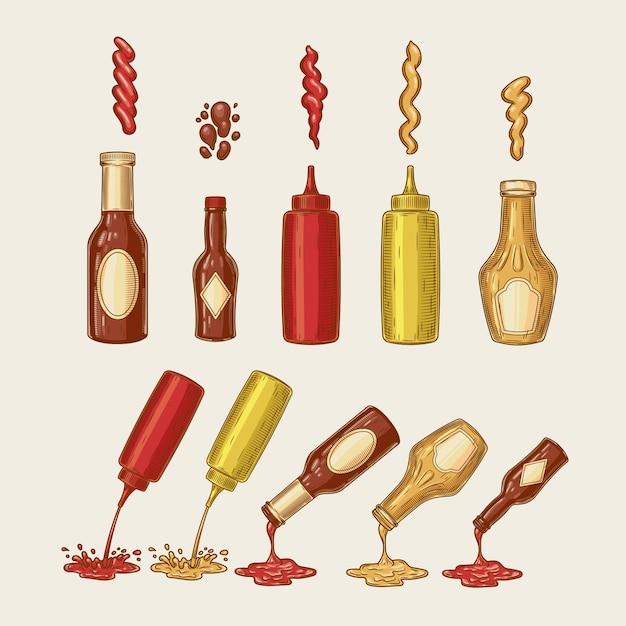 Vector illustratie van een gravure stijl set van verschillende sauzen worden uit flessen gegoten Gratis Vector